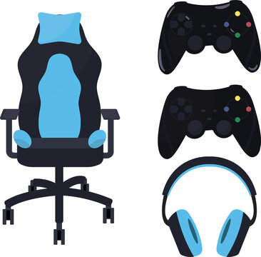 Set of gaming equipment- controller (joystick), headset (headphones) and gaming chair. Drawn in blue and black, minimalist style.