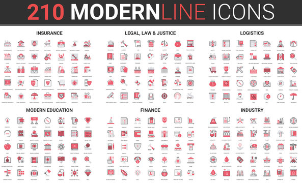Insurance, law legal justice, delivery transport logistics thin red black line icon vector illustration set. Outline mobile app symbols collection of modern education, finance system and industry