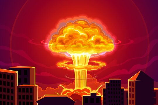 Atomic bomb explosion in city cartoon vector background. Nuclear power plant accident, mass destruction weapon at war conflict. Nuclear explosion blast and mushroom cloud, city buildings in fire