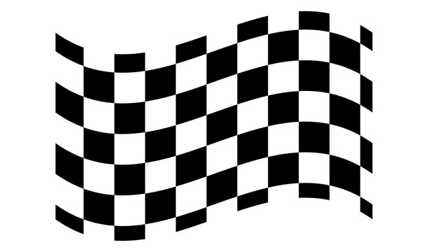 Checkered, chequered waving, wavy racing flag with different desinty squares. Squares pattern flag. Finish line, championship flag
