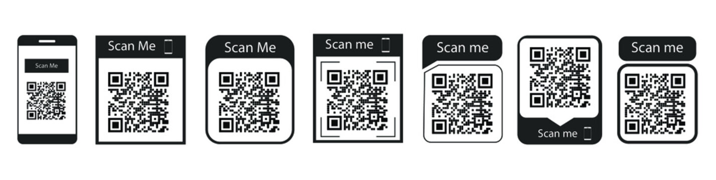 Set of QR code frames scan me for mobile applications and graphic designs vector scalable