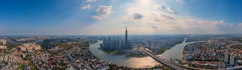 Aerial panorama photo of Ho Chi Minh city skyline in morning
