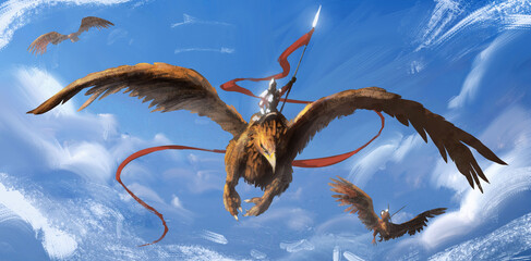 A knight in shining iron armor flies on a huge griffin, holding a spear with a red long log, against the background of a blue sky with clouds, his comrades fly. 2d illustration