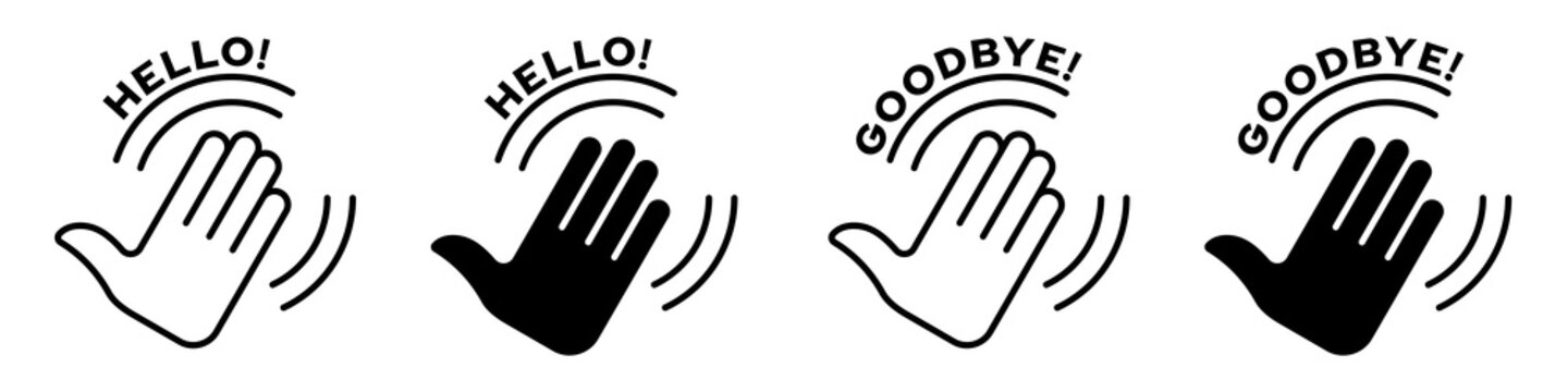 Flat sign of greeting or goodbye. Human waving palm icon with swing lines. Vector elements