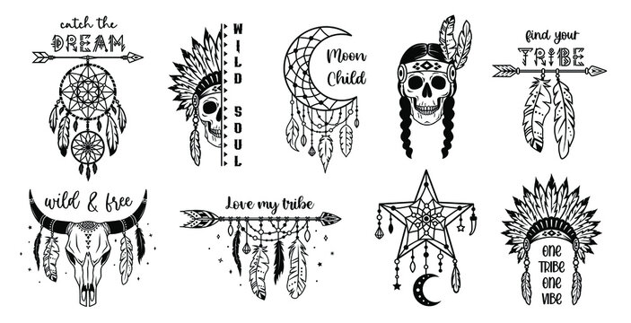 Set of tribal silhouette designs. Native american monochrome signs with inspirational quotes. Ethnic wild west collection. Traditional indian symbols. Boho style print for posters, card, tshirt.