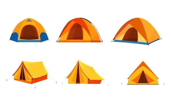 Tent camping in outdoor travel