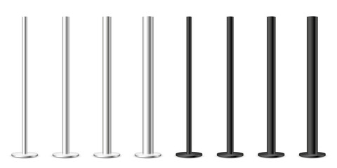 Obraz Realistic metal poles collection isolated on white background. Glossy steel pipes of various diameters. Billboard or advertising banner mount, holder. Vector illustration. - fototapety do salonu