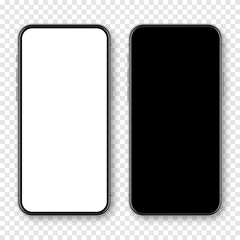Fototapeta Realistic smartphone with blank touch screen on checkered background. Frameless mobile phone in front view. High quality detailed device mockup. Vector illustration. obraz