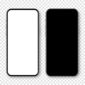 Realistic smartphone with blank touch screen on checkered background. Frameless mobile phone in front view. High quality detailed device mockup. Vector illustration.