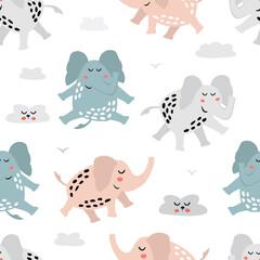 Modèle sans couture enfantin avec éléphant mignon. Texture créative pour tissu, textile