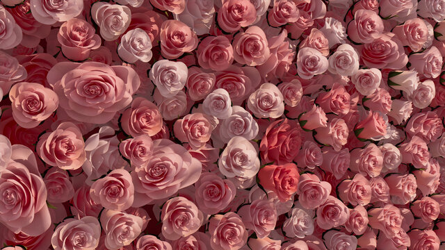 Romantic, Colorful Wall background with Roses. Vibrant, Floral Wallpaper with Pink, Beautiful flowers. 3D Render
