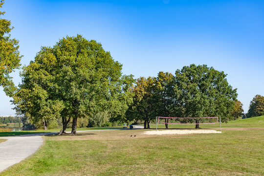 Volleyball court in the park in summer