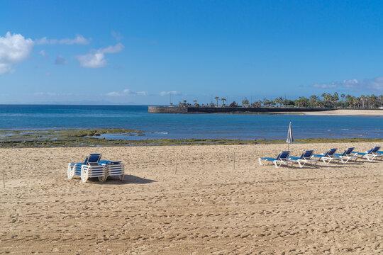 Arrecife beach on Lanzarote island in Spain