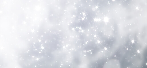 Fototapeta blue snowfall bokeh background, abstract snowflake background on blurred abstract blue obraz