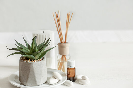 Minimalistic composition with aroma sticks and aroma oil copy space.