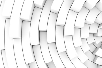 Black and white step fan abstract background 3D render illustration