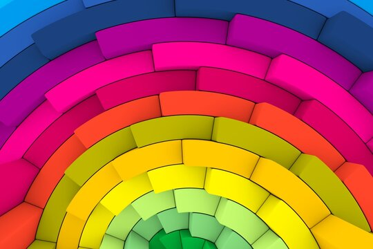 Colorful step fan abstract background 3D render illustration