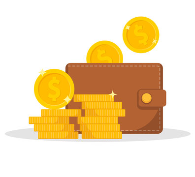 Wallet icon. Wallet and stack of coin. Cash back icon with coins and wallet. Vector illustration.