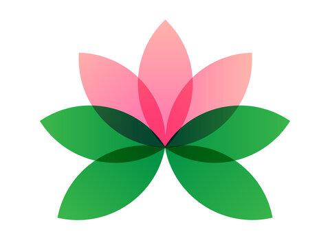 Logo del fiore di loto. Icona, disegno vettoriale di loto  isolato su sfondo bianco in stile piatto. Elemento floreale geometrico