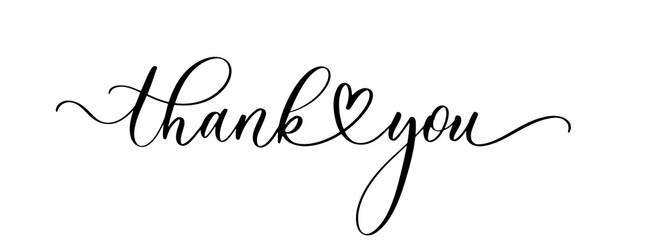 Fototapeta Thank you. Wavy elegant calligraphy spelling for decoration on holidays obraz