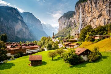 Summer view of alpine valley of Lauterbrunnen. Location place Swiss alp, Europe.