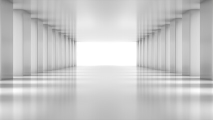 Fototapeta White empty light Hall Zoom in. Perspective view of White empty Modern Architecture room. Abstract  white tunnel Background. 3D Render. obraz
