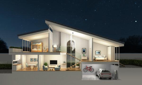 Modern home cross section, night scene, 3d rendering