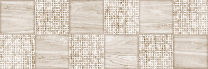 Lined Marble mosaic tile background, Stone and  circles pattern background with squares