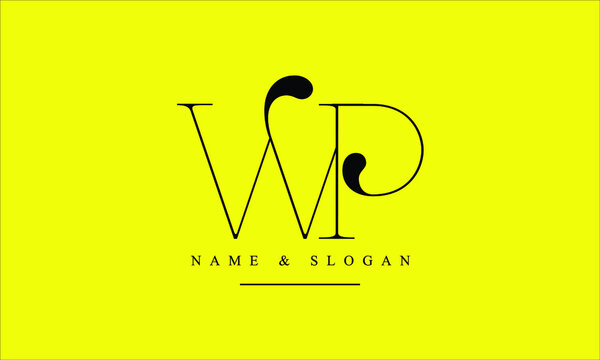 PW, WP, P, W abstract letters logo monogram