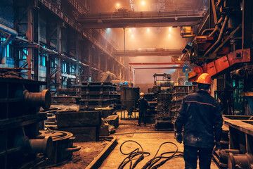 Fototapeta Industrial interior metallurgical factory foundry inside, heavy industry, large workshop metalwork manufacturing, iron casting in molds. obraz
