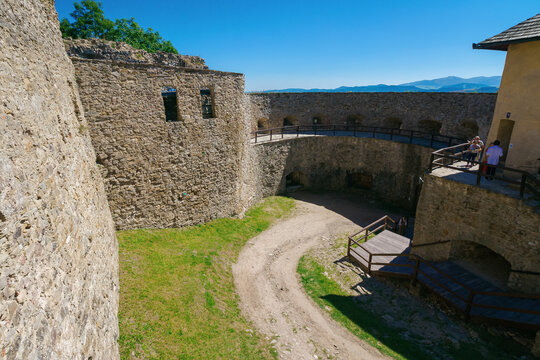 stara lubovna, slovakia - 28 AUG, 2016: courtyard of the inner castle. medieval architecture. popular travel destination