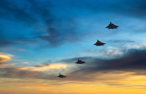 Fighter planes on the background of the sky.