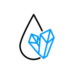 Fototapeta Water mineralization icon. Water drop and crystals symbol obraz
