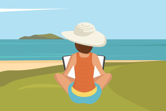 Woman sitting on beach. Concept for vacation, holiday and travel. Summer time. Flat vector illustration