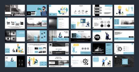 Obraz Business presentation, Powerpoint, launch of a new business project. Infographic design template, blue, black elements, white background, set. A team of people creates a business, teamwork. Mobile app - fototapety do salonu