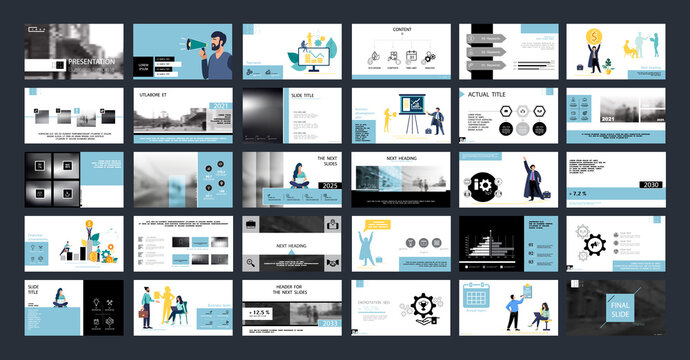 Business presentation, Powerpoint, launch of a new business project. Infographic design template, blue, black elements, white background, set. A team of people creates a business, teamwork. Mobile app