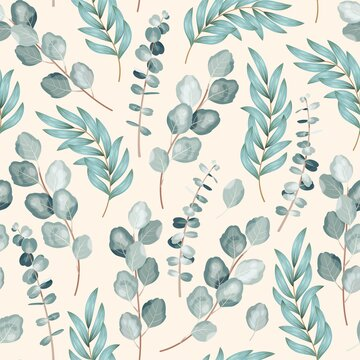 Vector seamless pattern with branch of eucalyptus
