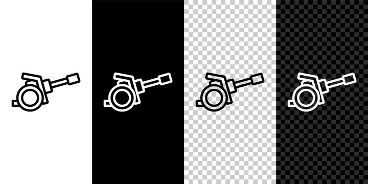 Set line Howitzer icon isolated on black and white, transparent background. Shooting from a gun. Artillery. Vector