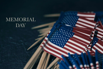 US flags and text memorial day Wall mural