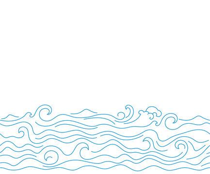 Simple sea waves sketch background. Horizontal seamless pattern illustration of ocean surf wave.