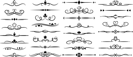 Obraz A set of vector ornaments. Floral and classic frames and patterns. A set of elements for graphic design. set of elements - fototapety do salonu