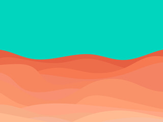 Desert landscape with dunes in a minimalist style. Flat design. Boho decor for prints, posters and interior design. Mid Century modern decor. Vector illustration