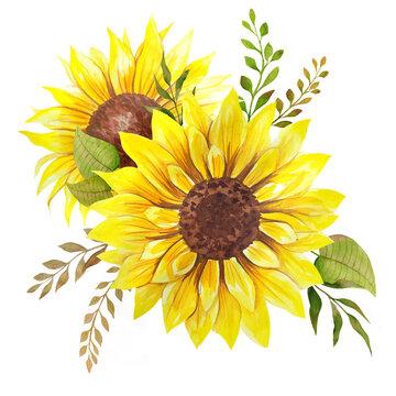 Watercolor sunflowers bouquet, hand painted sunflower bouquets, sunfower flower arrangement. Wedding invitation clipart elements. Watercolor floral. Botanical Drawing. White background.