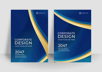 Obraz Brochure blue gold cover design layout set for business and construction. Abstract geometry with colored corporate vector illustration on background. Good for annual report, industrial catalog design. - fototapety do salonu