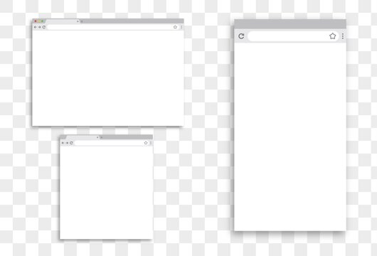 Modern browser window design isolated on transparent background. Web window screen mockup. Internet empty page concept with shadow. Empty laptop, tablet and mobile internet page. Vector illustration.