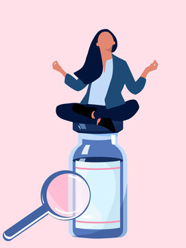 Woman sitting and meditating on big pill vial.Vitamin complex and healthcare.Keep calm and drink sedative tablets.Antidepressants and millennial problems.Influence of anti-anxiety meds.Zoom effect