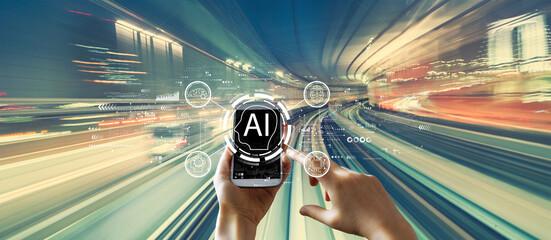 Obraz AI concept with high speed motion blur - fototapety do salonu