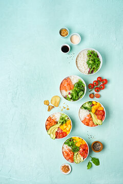 Delicious poke bowl with many ingredients seen from above