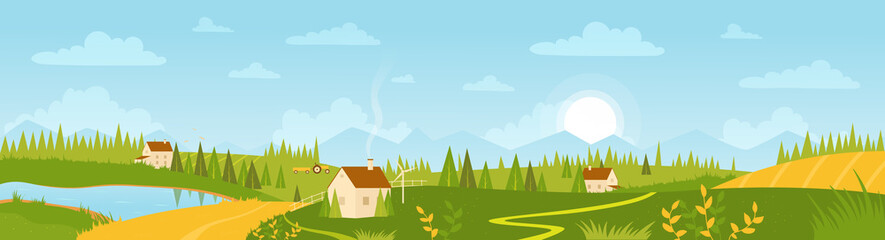 Summer wide panorama landscape with village and agricultural fields vector illustration. Cartoon farm countryside outdoor view with farmer houses on fresh green meadow hills.