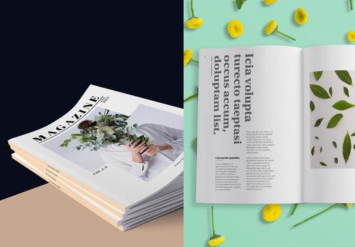 Floral Magazine Mockup